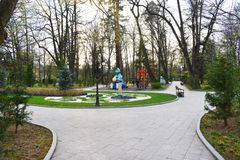 Zavoi Park from Ramnicu Valcea, Romania, in a beautiful spring day stock photography