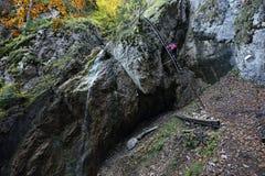 Zavojovy vodopad, Sokolia dolina, Slovensky raj, Slovakien royaltyfria foton