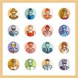 Zawód ikon mieszkania stylu ikony set, avatars, ludzie płaskich ikon, okrąg ikony, zajęcie, pracownicy ilustracji