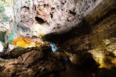 Zawala się pokój w Cueva De Los Verdes, zadziwiająca lawowa tubka i atrakcja turystyczna na Lanzarote wyspie, Hiszpania fotografia stock