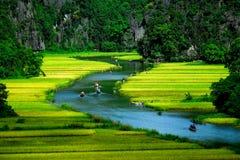 Zawala się turystyczne łodzie w Tama Coc, Ninh Binh, Wietnam Obraz Royalty Free