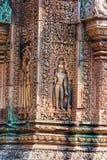 Zawalający się wzory Banteay Srei kasztel obrazy royalty free