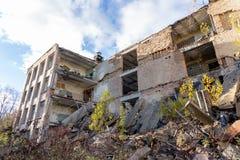 Zawalony budynek w Pripyat zdjęcia royalty free