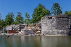 Zawalony 15 wiek fortyfikował miasto ścianę w Maastricht zdjęcia royalty free