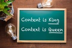 Zawartość jest królewiątkiem, kontekst jest królową obrazy royalty free