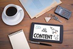 Zawartość, marketing i blogging concep, obrazy royalty free