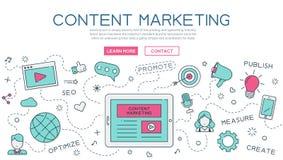 Zawartość, wprowadzać na rynek dla strona internetowa sztandaru i lądowanie strony ilustracja wektor
