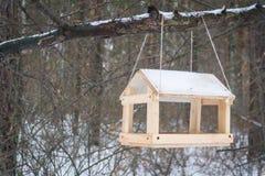 Zawdzięczający sobie drewniany ptasi dozownika obwieszenie na drzewie Zima fotografia stock