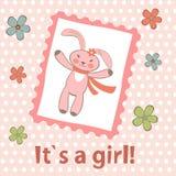 zawiadomienia przyjazd jako dziecka karty dziewczyny szablon ilustracja wektor