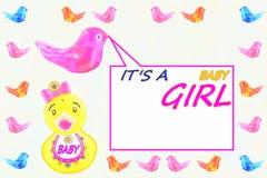 zawiadomienia przyjazd jako dziecka karty dziewczyny szablon Zdjęcia Stock