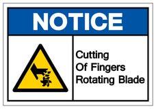 Zawiadomienia rozci?cie Wiruje ostrze symbolu znaka palce, Wektorowa ilustracja, Odizolowywa Na Bia?ej t?o etykietce EPS10 royalty ilustracja