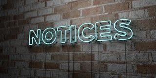 ZAWIADOMIENIA - Rozjarzony Neonowy znak na kamieniarki ścianie - 3D odpłacająca się królewskości bezpłatna akcyjna ilustracja ilustracji