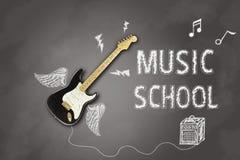 Zawiadomienie z gitarą elektryczną na blackboard dla lekcj a zdjęcie royalty free