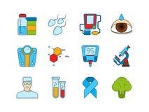 zawiera wycinek cyfrowej medycznego ilustracyjnego ikony ścieżki zestaw Różnorodni symbole cukrzyk ilustracja wektor
