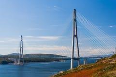 Zawieszenia Russkiy most w Vladivostok, Rosja zdjęcie royalty free