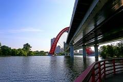 Zawieszenie Malowniczy most w Moskwa obraz stock