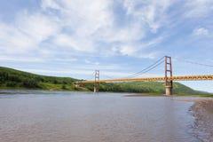 Zawieszenie most Dunvegan Alberta Kanada zdjęcia royalty free