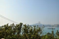 Zawieszenie most Dzwoni Kau w Hong Kong zdjęcia royalty free