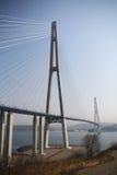 Zawieszenie most na Rosyjskiej wyspie w Vladivostok fotografia stock