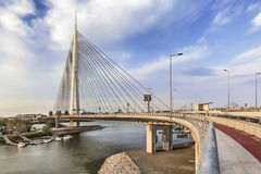 Zawieszenie most Nad Ada pilonem Belgrade, Serbia przy półmrokiem - zdjęcie royalty free