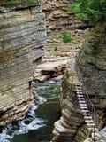 Zawieszenie most nad Ausable rzeki wąwozem zdjęcie stock