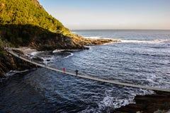 Zawieszenie most nad burzy Rzecznym usta, Południowa Afryka fotografia stock