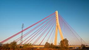 Zawieszenie most nad Martwa Wisla w Gdańskim obrazy royalty free