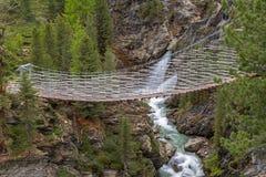 Zawieszenie most nad Plima wąwozem, Martell dolina, Południowy Tyrol obraz stock