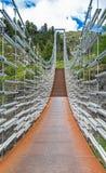 Zawieszenie most nad Plima wąwozem, Martell dolina, Południowy Tyrol obrazy stock