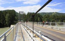 Zawieszenie most przez halnego rzecznego Katun. Altai. Obrazy Royalty Free