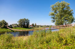 Zawieszenie most przez rzekę Msta Obraz Royalty Free
