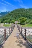 Zawieszenie most przez Shirakawago historyczne wioski Obrazy Stock