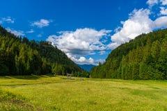 Zawieszenie most przy Reutte mi?dzy dwa wzg?rzami w pi?knej krajobrazowej scenerii Alps, Tirol, Austria zdjęcie stock