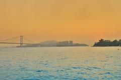 Zawieszenie most w Hong Kong przy Dzwonimy Kau fotografia royalty free