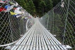 Zawieszenie most w Tengboche, Everest Podstawowego obozu wędrówka, Nepal fotografia stock