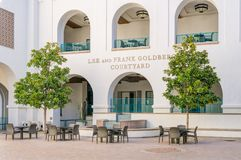 Zawietrzny i Frank Goldberg podwórze na kampusie San Diego Stat obraz royalty free