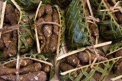 zawijający palmowy koszy produkty spożywcze Obraz Royalty Free