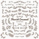 Zawijas ornamentuje kaligraficznego projektów elementów wektoru ustalonego illus ilustracji