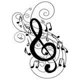Zawijasa kłębowiska treble clef klucza doodle wektor Zdjęcie Stock