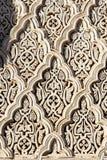 Zawiya西迪贝勒阿巴斯被雕刻的细节在马拉喀什,摩洛哥 免版税库存照片