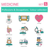 Zawody i zajęcia coloured ikona set medyczny Płaski Lin Zdjęcia Stock