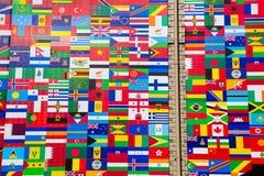 Zawody międzynarodowi flaga pokaz Różnorodni kraje Obrazy Stock