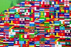 Zawody międzynarodowi flaga pokaz Różnorodni kraje Zdjęcia Royalty Free