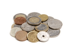 Zawody międzynarodowi monety na białym tle obrazy royalty free