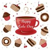 Zawody międzynarodowi Tortowy dzień Kubek herbata i słodka bułeczka LIPIEC 20 royalty ilustracja