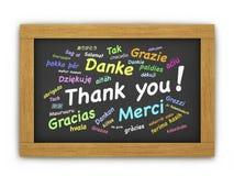 Zawody międzynarodowi Dziękuje Ciebie Chalkboard Obraz Stock