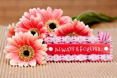 Zawsze & Na zawsze z kwiatami Zdjęcia Stock