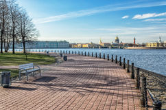 Zayachy (Hare) Island embankment. Saint Petersburg, Russia. Zayachy (Hare) Island embankment. A view of The Spit of Vasilievsky island, The Hermitage and the Royalty Free Stock Photos