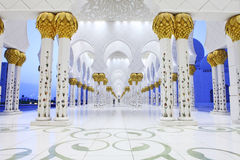 zayed Mosque,阿布扎比回教族长内部  免版税库存图片