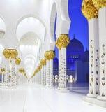 zayed Mosque,阿布扎比回教族长内部  免版税图库摄影